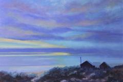 Oil Painting. Chisnell. Norfolk coast sunrise.
