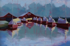 Chisnell oil painting Hunters boatyard