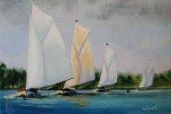 Chisnell oil painting BroadsYachts racing