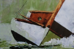 Chisnell oil painting paletteknife yacht