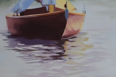 Chisnell oil painting Brownboat reflection