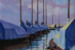 Chisnell oil painting Hunters broads yacht.