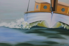 Chisnell oil painting yacht bowwave