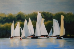 Chisnell oil painting Wroxham yachts