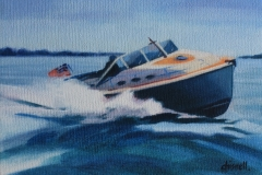 Chisnell oil painting motoryacht