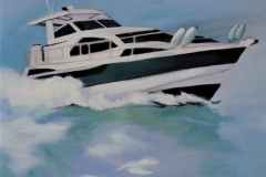 Chisnell Oil Painting Motor yacht
